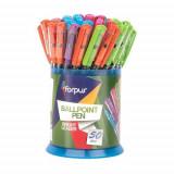 Set 50 Pixuri FORPUS Bright, Mina Diferite Culori, Varf 0.38 mm, Corp din Plastic de Diferite Culori cu Capac, Pixuri Colorate, Pix cu Pasta Colorata,