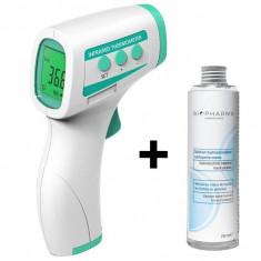 Cumpara ieftin Termometru digital non contact cu infrarosu iUni T4 + Solutie igienizanta pentru maini 250ml