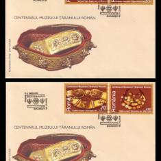 2006 Romania, 2 FDC Centenarul Muzeului Taranului Roman LP 1742 plicuri prima zi