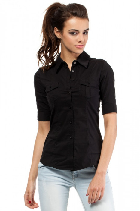 Camasa casual, de culoare neagra, cu maneci lungi