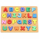 Puzzle alfabet Iso Trade, 26 piese, 23 x 30 cm, lemn, 3 ani+, Multicolor