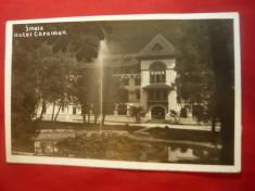 Ilustrata Sinaia - Hotel Caraiman , circulat 1936 ,cu stampila reclama foto