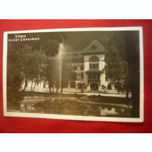 Ilustrata Sinaia - Hotel Caraiman , circulat 1936 ,cu stampila reclama