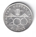 UNGARIA 200 FORINTI 1994 ARGINT DEAC FERENC STARE AUNC, Europa