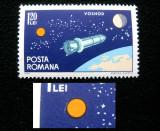 Varietate, eroare la marca postala de 1.20 Lei Cosmonautica, 1965, Nestampilat