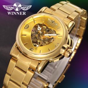 Ceas de dama, Winner schelet automatic-mecanic, Gold, bratara din otel inoxidabil, rezistent la zgarieturi, stil fashion + cutie cadou