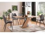 Cumpara ieftin Set masa extensibila din pal Exel Stejar Wotan / Gri + 4 scaune tapitate cu stofa Arco Gri / Negru, L140-180xl85xH76 cm