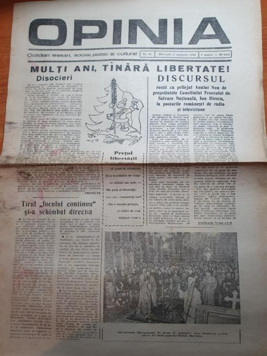 opinia 3 ianuarie 1990-discursul lui iliescu cu prilejul anului nou.revolutia