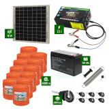 Pachet gard electric cu Panou solar 3,1J putere și 6000m Fir 90Kg cu acumulator