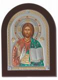 Icoana Iisus Hristos pe Foita Argint 925 Auriu 7x10cm COD: 1493