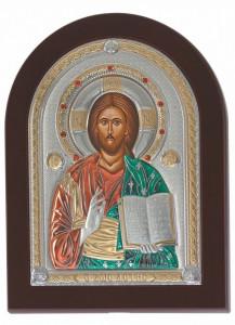 Icoana Iisus Hristos pe Foita Argint 925 Auriu 7x10cm Cod Produs 1493