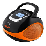 Radio multimedia Ecg Hornet, 2 x 3 W, 1200 mAh, USB, SD, FM, ceas cu alarma, Negru/Portocaliu, General
