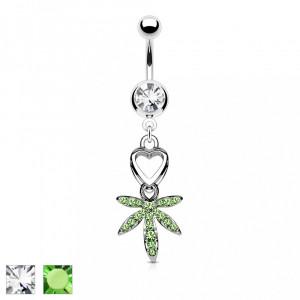 Piercing pentru buric cu o frunză de marijuana - Culoare zirconiu piercing: Transparent - C