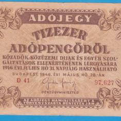 (5) BANCNOTA UNGARIA - 10.000 ADOPENGO 1946 (31 IULIE 1946)