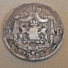 5 lei 1883 Argint Carol I necuratata