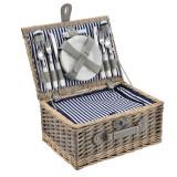 [casa.pro]® Cos picnic 4 persoane, 40 x 28 x 19 cm, rachita/poliuretan-imitatie piele/textil, gri/alb HausGarden Leisure