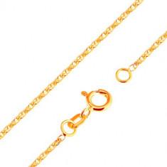 Lanț strălucitor realizat din aur galben 18K - zale strălucitoare ovale legate, 500 mm