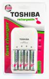 Incarcator + 4 acumulatori AA, 2000 mAh - Toshiba