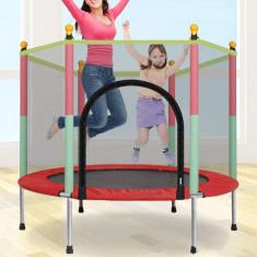 Trambulina copii 122x140cm cu plasa de protectie, multicolora foto