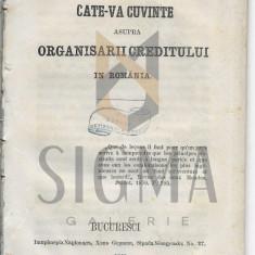 CATEVA CUVINTE ASUPRA ORGANISARII CREDITULUI IN ROMANIA, BUCURESCI 1860