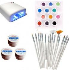Kit-ul Unghii False , Lampa, Gel UV , Pensule