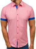 Cămașă pentru bărbat cu print decorativ și mâneca scurtă roz Bolf 6521