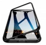 Husa protectie pentru iPhone X Negru Fullbody fata-spate Bumper metalic cu spate de sticla securizata premium