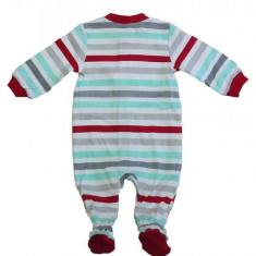 Salopeta / Pijama bebe cu dungi si ursulet Z74