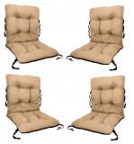 Set 4 Perne sezut/spatar pentru scaun de gradina sau balansoar, 50x50x55 cm, culoare bej, Palmonix