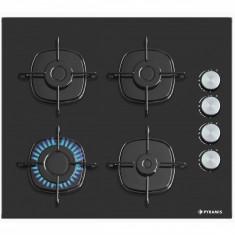 Plita incorporabila Pyramis 5335S Gaz 4 arzatoare Black Glass