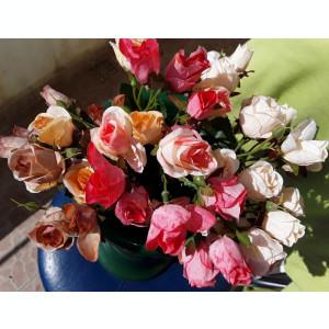 Buchet flori artificiale - BOBOCI mini ROSES  , H 30 cm  ROZ  PEACH IVOIRE