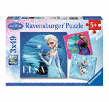 Puzzle 3 in 1 - Frozen: Elsa, Anna si Olaf, 147 piese, Ravensburger