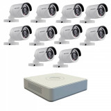 Kit format din 10 camere exterior Hikvision TurboHD DS 2CE16C0T IRPF 1 MP IR 20 m 2.8 mm + DVR Turbo HD Hikvision DS 7116HGHI F1 N 16 canale 1080N