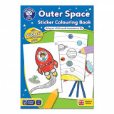 Carte de colorat cu activitati in limba engleza si abtibilduri In Spatiu OUTER SPACE, orchard toys
