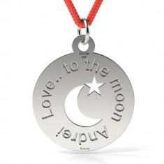 Pandantiv Love to the Moon cu Snur reglabil din Argint 925 personalizabil