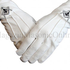 Manusi albe cu simbol negru echer compas din bumbac
