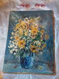 Tablou semnat pictor roman Ioan Matasareanu, pictura desen tehnica cutit, Natura statica, Ulei, Altul