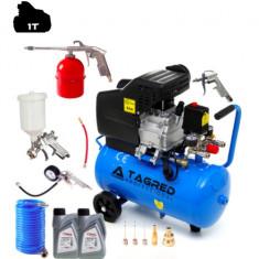 Set Compresor de Aer cu Ulei Tagred Mobil, 50L, 3.8 CP, 8 Bar, 206 L/min + Pistol de Vopsit cu Accesorii 8-in-1 + Ulei cadou