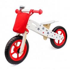 Bicicleta lemn cu cosulet Balance Rosie