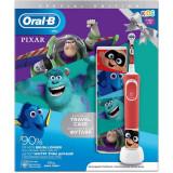 Periuta de dinti electrica Oral-B Vitality Pixar pentru copii 7600 oscilatii/min, Curatare 2D, 2 programe, 1 capat, 4 stickere incluse, Trusa de calat