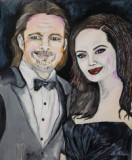 Tablou pictat manual portret Brad Pitt & Angelina Jolie