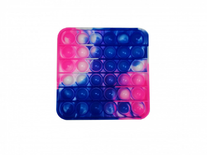 Jucarie antistres, Pop it, silicon, patrat, 13 cm, albastru