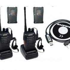 Set 2 buc Baofeng BF 888S cu 4 acumulatori 1500 mAh + Bonus Cablu+CD programare