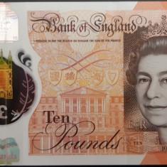 Bancnota Anglia 10 Pounds 2016 - P395 XF ( polimer )