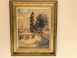 Litografie veche franceza,oameni in piata