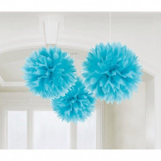 Decoratiuni bleu pom pom Fluffy 40.6 cm set 3 buc
