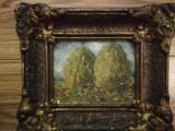 Cumpara ieftin Tablou vechi peisaj capite, ulei pe carton, 7 x 10, semnat, cu rama, de efect, Natura, Realism