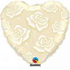 Balon nunta inima din folie 43cm Trandafiri