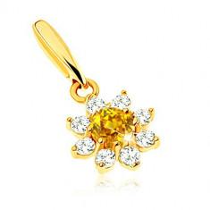 Cumpara ieftin Pandantiv din aur 375 - floare înflorită citrin galben, petale zirconii transparente