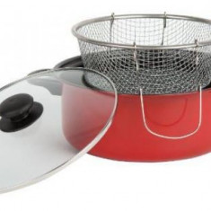Friteuza teflonata Vanora VN-E-C216, 24 cm, cu capac si cos (Rosu)